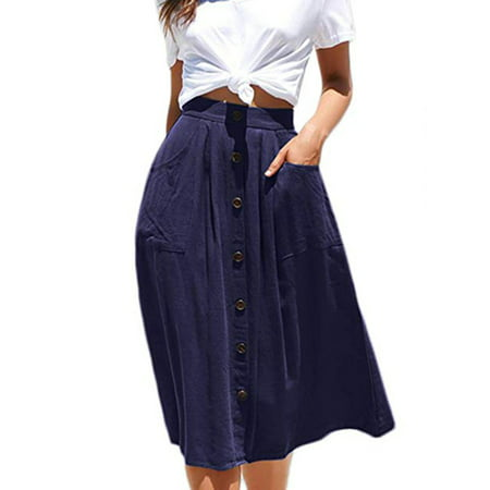 LELINTA Women's A-Line High Waisted Button Front Drawstring Pleated Midi Skirt with Elastic Waist Knee Length Summer Skirt A-line Elastic Waist Skirt
