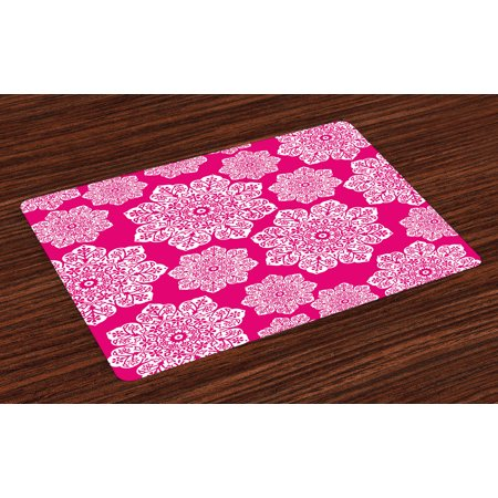 hot pink kitchen accessories zeal mat | Hot Pink Placemats Set of 4 White Floral Design Ornate ...