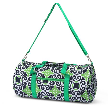 Gym Tote Bags (Classic Style Duffel Bag by Zodaca Travel Gym Bag Shoulder Tote Carry Bag for Camping Hiking - Navy/Green)