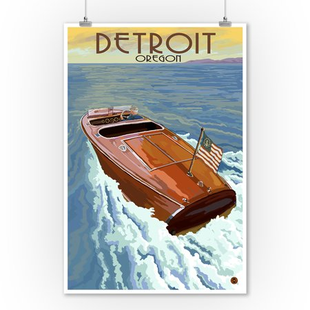 Detroit  Oregon   Wooden Boat On Lake   Lantern Press Poster  9X12 Art Print  Wall Decor Travel Poster