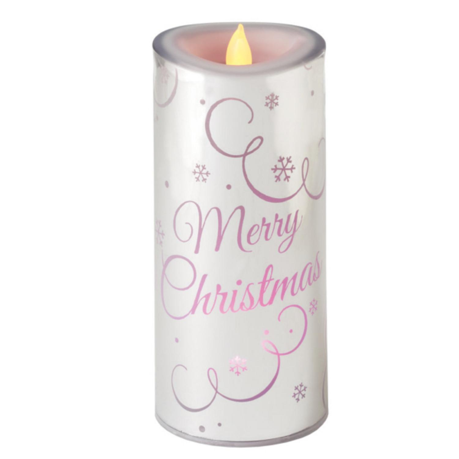 """7.25"""" Color Changing LED Lighted Flameless Silver """"Merry Christmas"""" Candle"""
