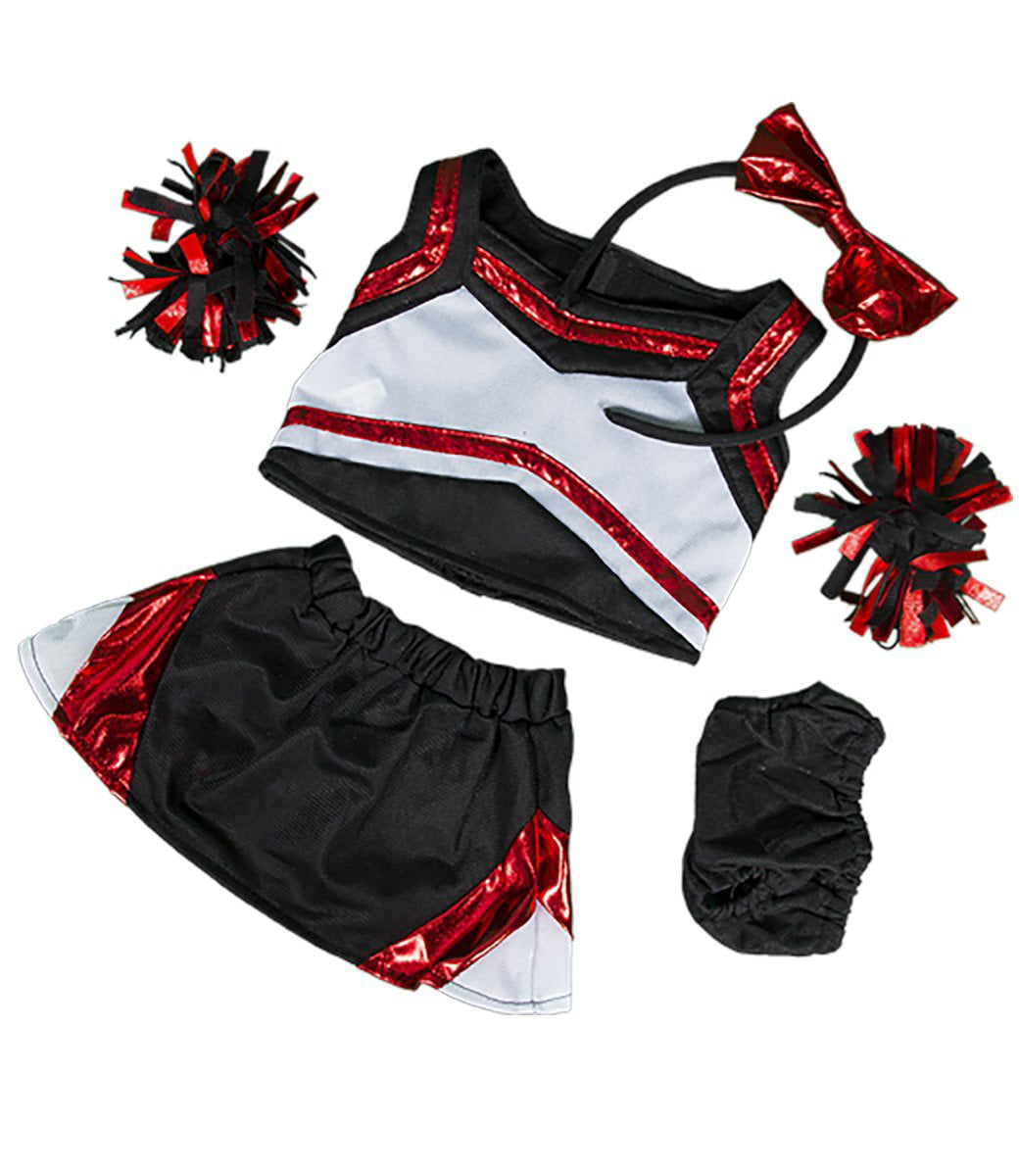 "Metallic Red & Black Cheerleader Teddy Bear Clothes Outfit Fits Most 14"" 18""... by Teddy Mountain"