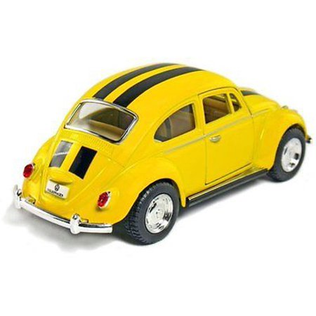 "5"" Kinsmart Volkswagen Beetle VW Bug w/ Stripes Diecast Model Toy 1:32 Yellow"