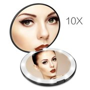 Lighted Travel Makeup Mirror, 1x/10x Magnifying Mirror, Handheld Folding Compact Mirror with LED Lights for Cosmetic, Camping, Personal Use and Travel Black-01