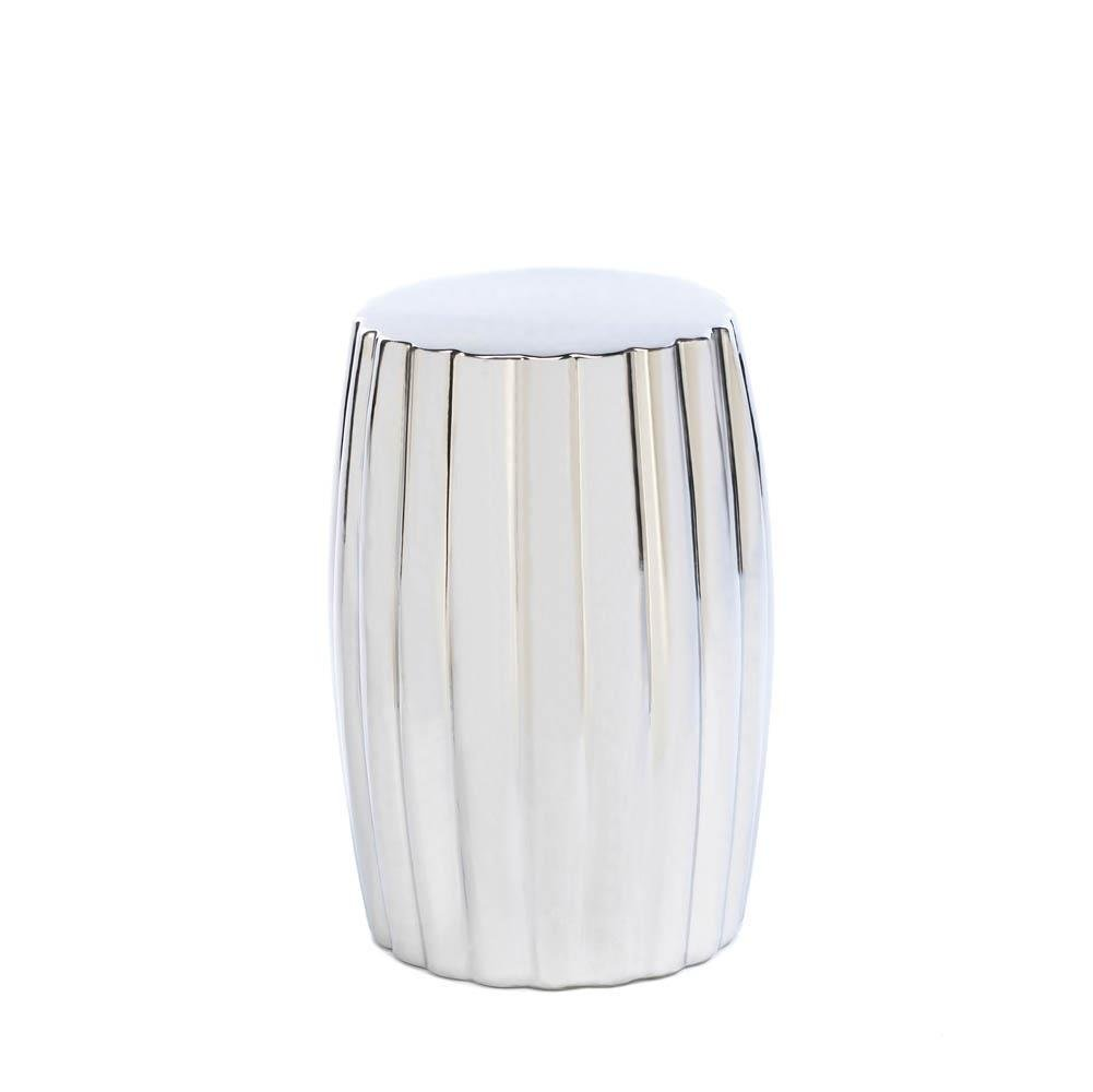 Ceramic Footstool, Round Silver Decorative For Modern Accent Desk Footstool by Accent Plus