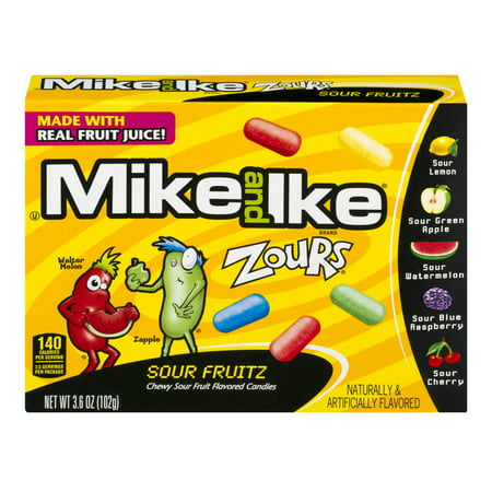 Mike And Ike Zours Sour Fruitz Flavored Candies  3 6 Oz