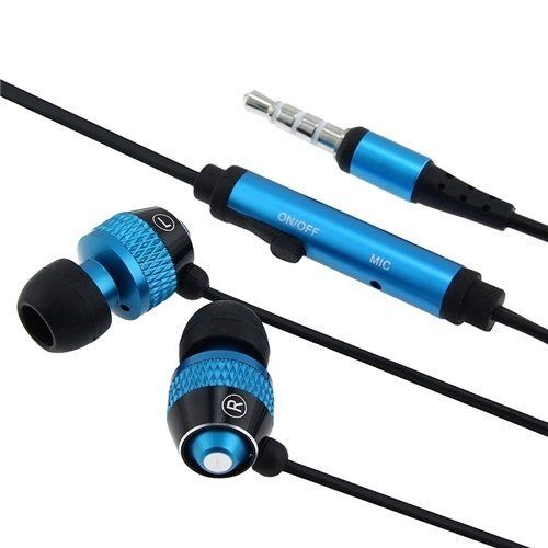 Blue In-Ear Headphones Earphones Earbuds with Mic Microphone for Cell Phones