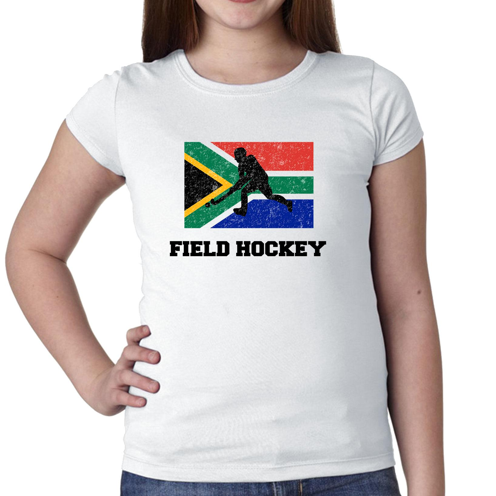 South Africa Olympic Field Hockey Flag Silhouette Girl's Cotton Youth T-Shirt by Hollywood Thread
