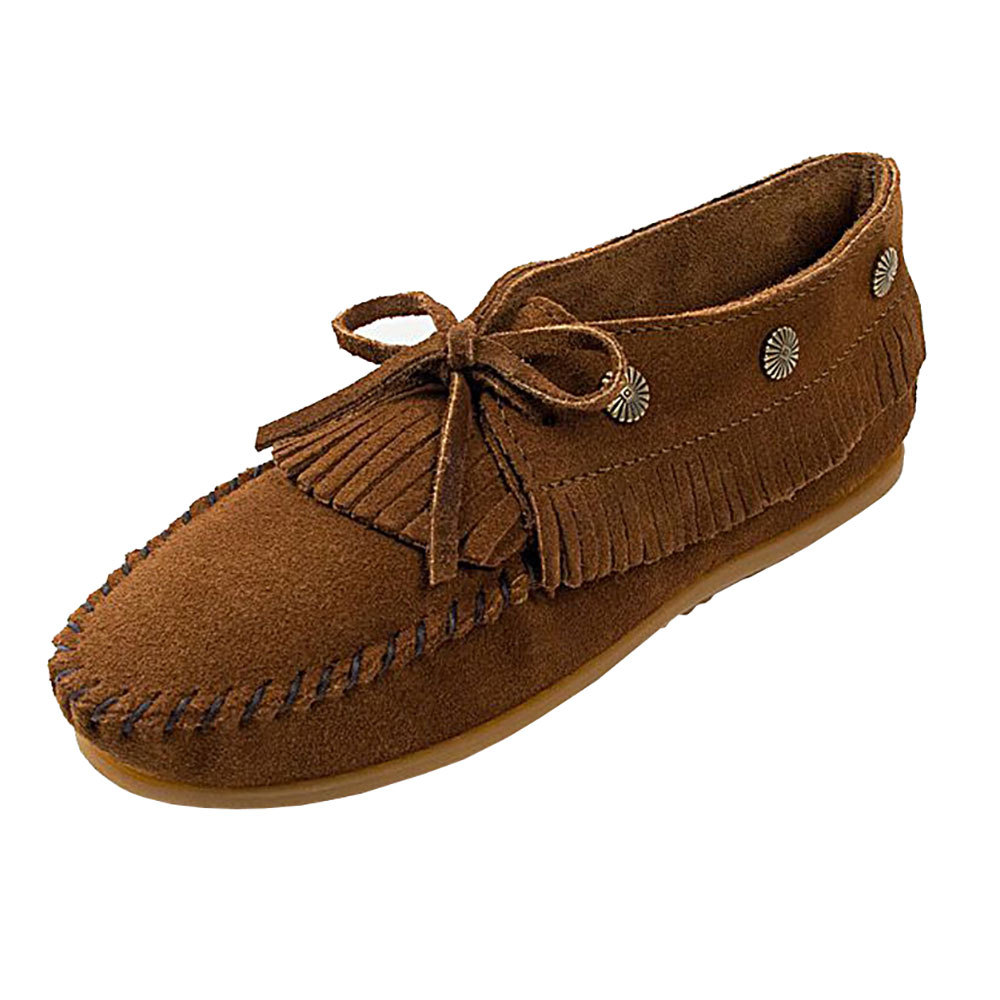 Minnetonka Womens Fringed Dusty Brown Concho Moc by MINNETONKA