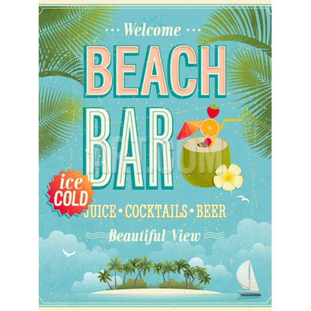 Beach Vintage Poster (Vintage Beach Bar Poster Alcohol Advertisement Print Wall Art By)