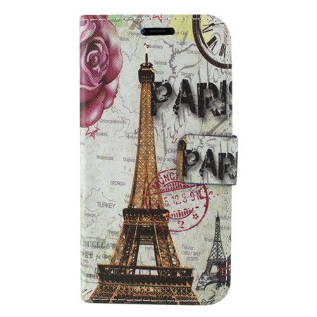 Insten Eiffel Tower Stand Folio Flip Leather [Card Holder Slot] Wallet Pouch Case Cover For Apple iPhone X XS, Multi-Color