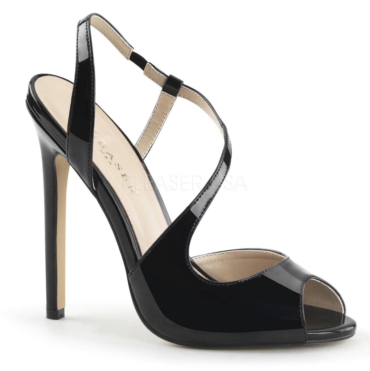 SEXY-10, 5 Inch Heel Sling Back Asymmetric Strappy Sandal