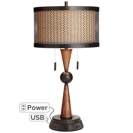 Franklin Iron Works Hunter Bronze Cherry Wood Table Lamp with USB Workstation Base