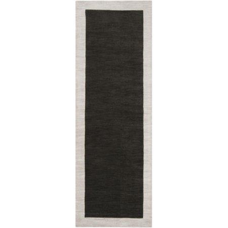 Loomi Light (2.5' x 8' Simply Neutral Solid Dark Green Hand Loomed Plush Wool Area Rug)