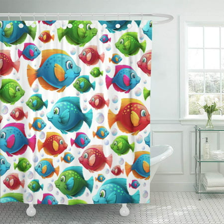 KSADK Colorful Color with Bright Multicolored Fish and Air Bubbles Children's Sea Red Shower Curtain Bathroom Curtain 66x72 inch