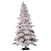 Vickerman Flocked Spruce Alpine 6' White Artificial Christmas Tree with 300 Clear Lights with Stand