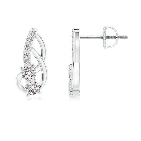 April Birthstone - Prong-Set Double Diamond Loop Earrings in 14K White Gold (2.5mm Diamond) - SE1215D-WG-IJI1I2-2.5