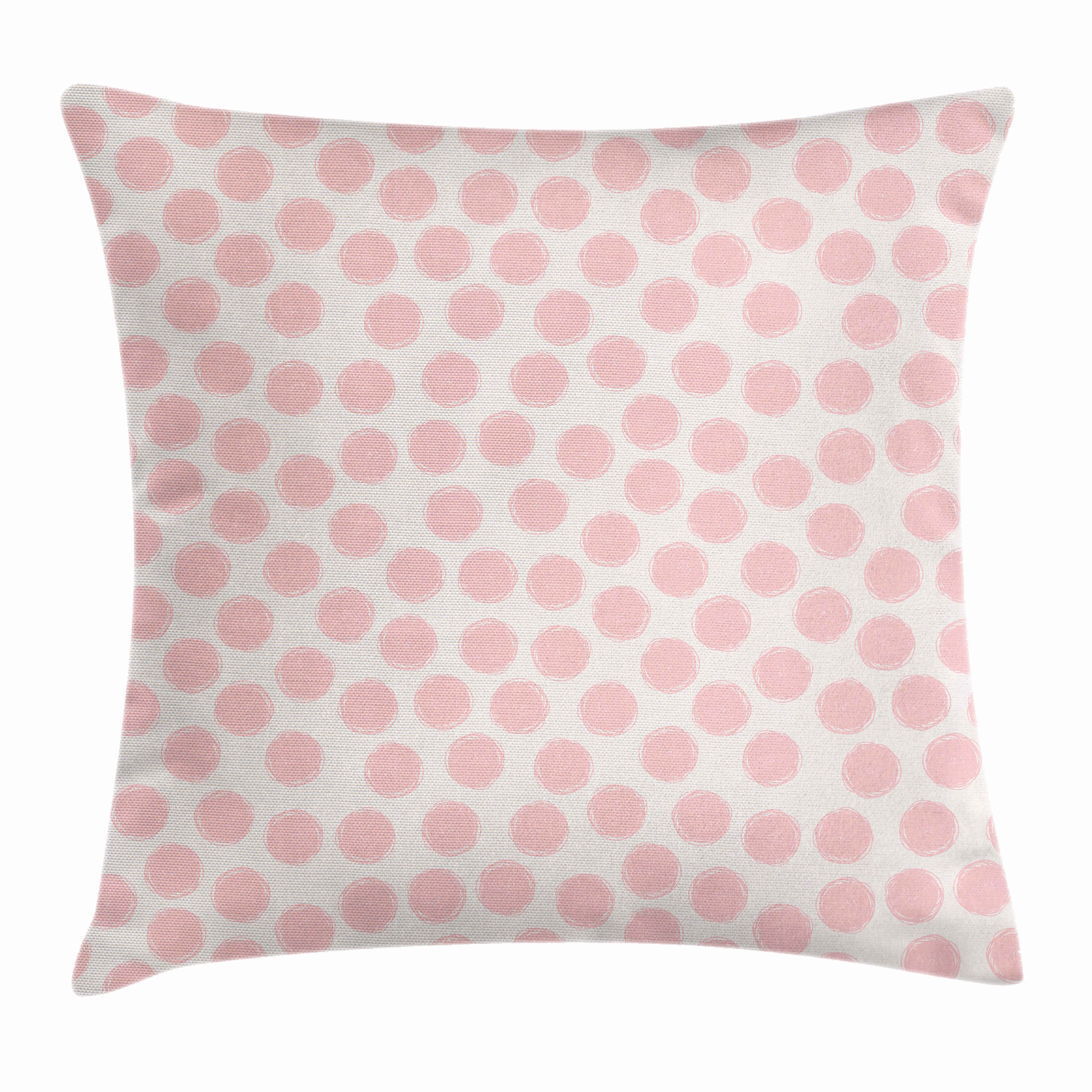 Kids Throw Pillow Cushion Cover, Hand Drawn Style Dots in Pastel Color and Retro Style Sweet Childhood Pattern, Decorative Square Accent Pillow Case, 16 X 16 Inches, Blush and Coconut, by Ambesonne