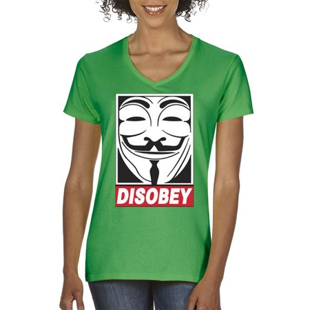 Trendy USA 031 - Women's V-Neck T-Shirt Disobey V For Vendetta Anonymous Fawkes Mask 2XL Kelly Green - Famous Masked Women