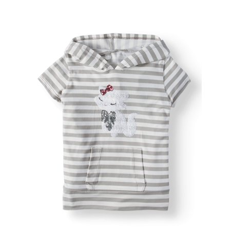 Btween Striped Critter Hoodie Top (Little Girls)