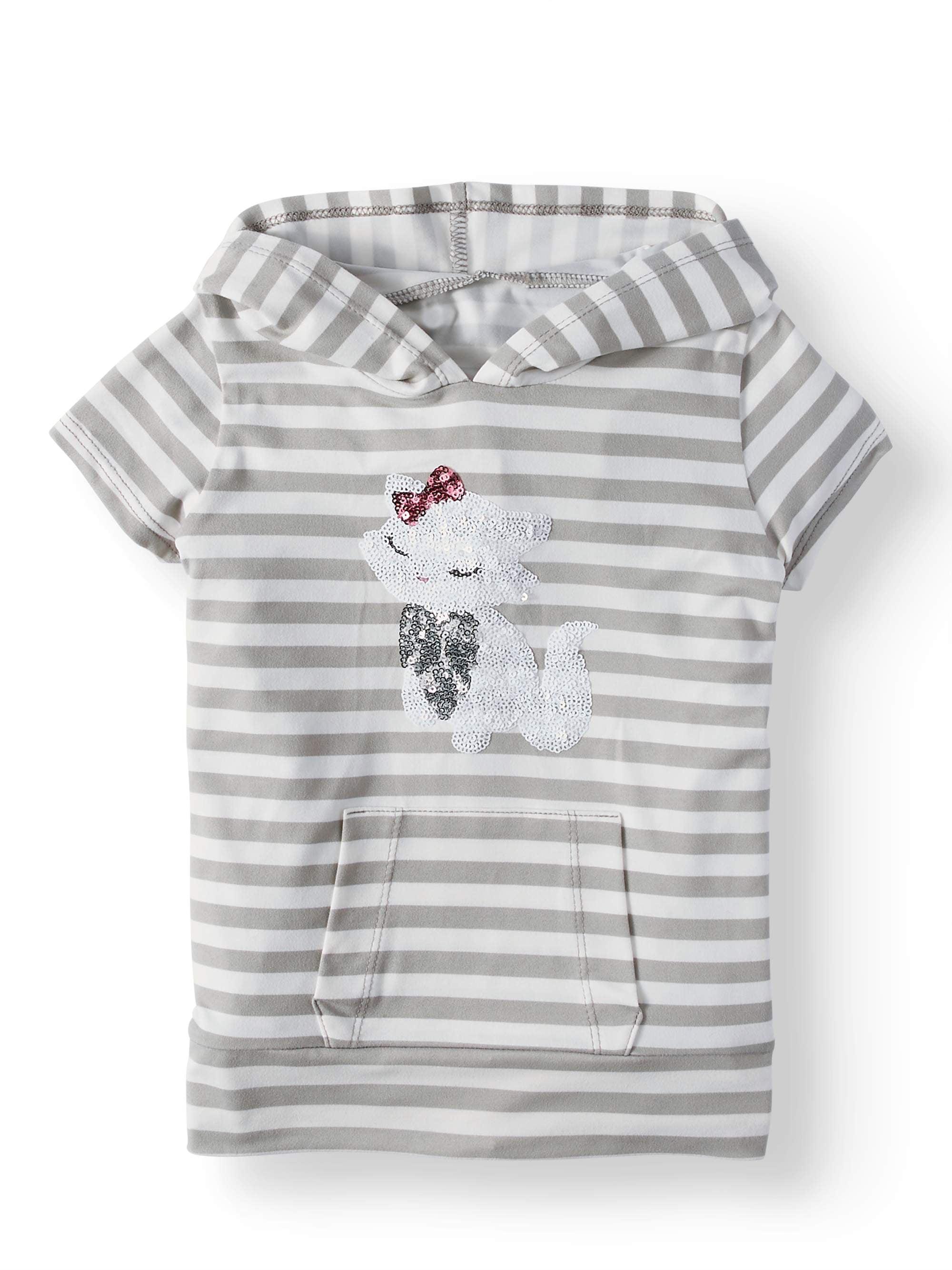 Btween Striped Critter Hoodie Top (Little Girls)