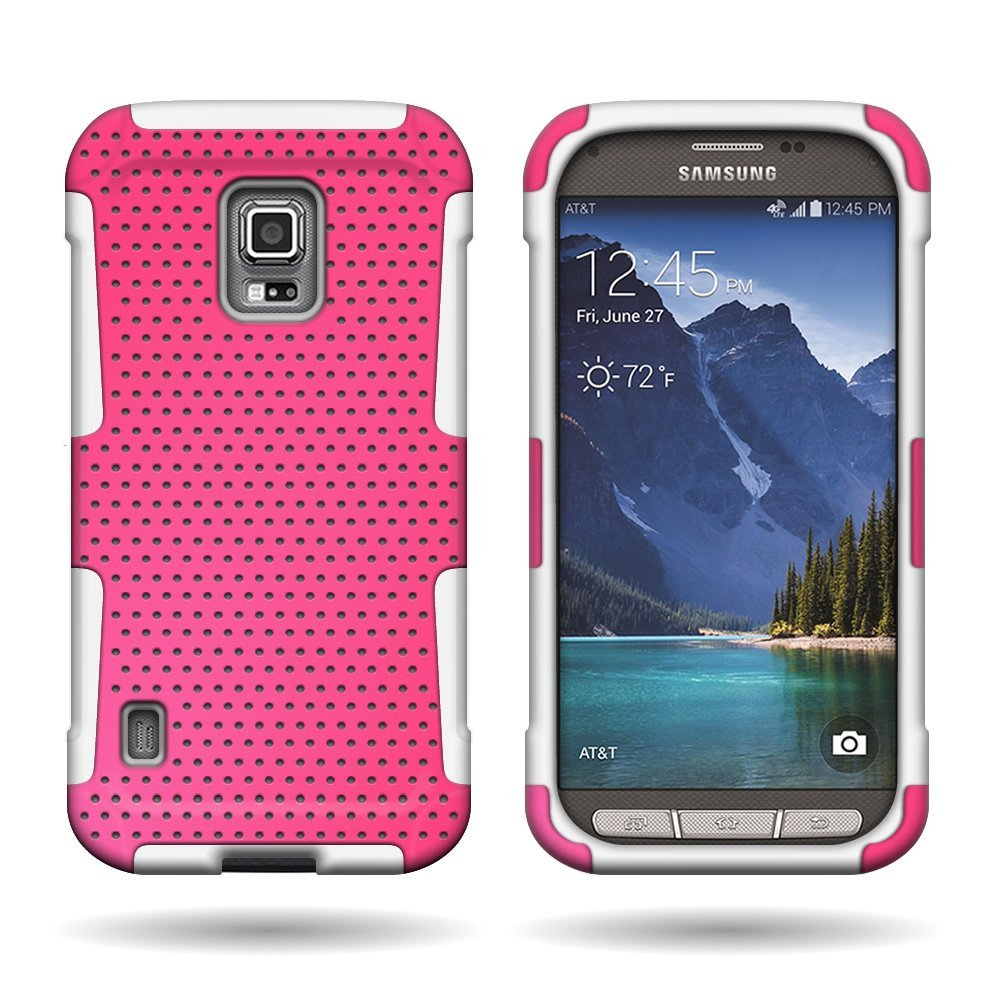 CoverON Hybrid Dual Layer Mesh Case for Samsung Galaxy S5 Active _Will Not Fit Other S5 Models_ _ Hot Pink + White