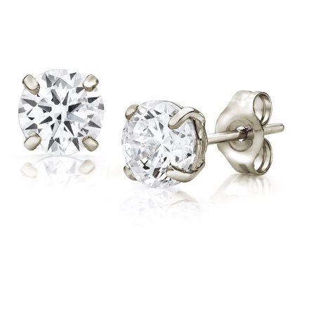 Jewelers 14K White Gold 5MM Round-Cut Stud Earrings made with Crystals Swarovski (5mm Clover Earrings)