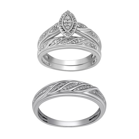 SS 1/10 CTTW MARQUISE TRIO SET