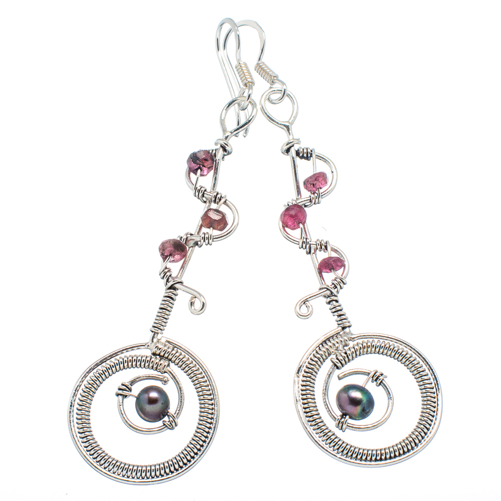 """Ana Silver Co Titanium Cultured Pearl, Pink Tourmaline 925 Sterling Silver Earrings 2 3/4"""" EARR349473"""