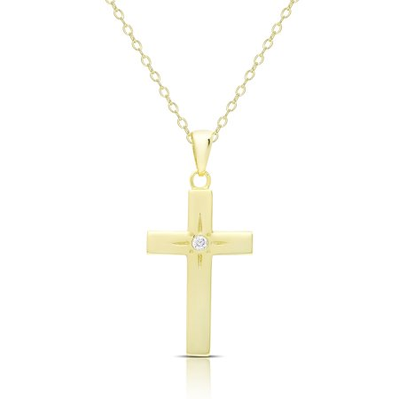 Dolce giavonna gold over silver or sterling silver cubic zirconia dolce giavonna gold over silver or sterling silver cubic zirconia cross necklace walmart aloadofball Image collections