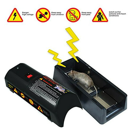Electronic Rat Trap – High Voltage Rodent Trap Rat Zapper Killer Rat Catcher - Safe and Easy Way to Kill Rats, Mice and Squirrels