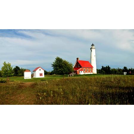 Tawas Point Lighthouse Tawas Point State Park Lake Huron Baldwin Township Iosco County Michigan USA Canvas Art - Panoramic Images (27 x 9) (Tawas Point)