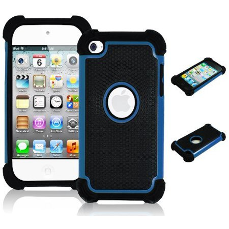 iPod Touch 4 Case, Bastex Hybrid Slim Fit Black Rubber Silicone Cover Hard Plastic Blue & Black Shock Case for Apple iPod Touch 4, 4th Generation (Pig Ipod 4 Case)