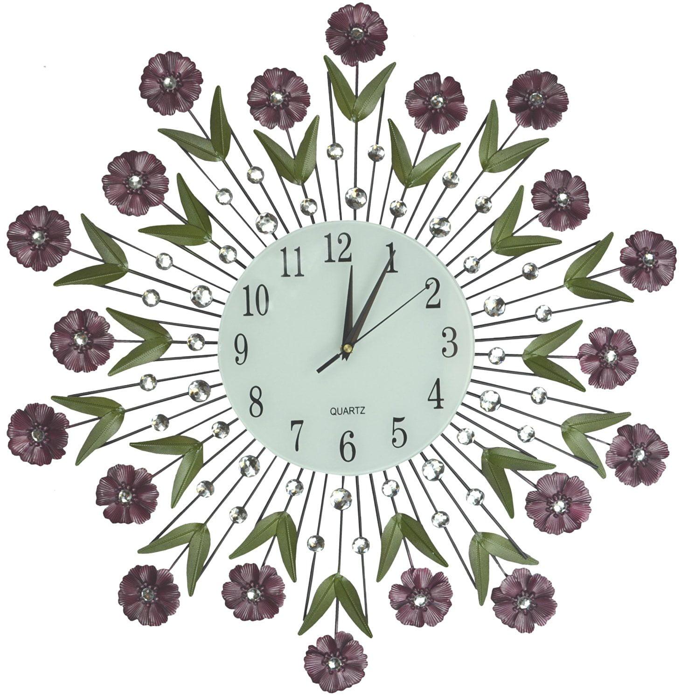 Lulu Decor, Flower Burst Wall Clock 24�, White Glass Dial with Arabic Numerals 8.5�,... by Lulu Decor