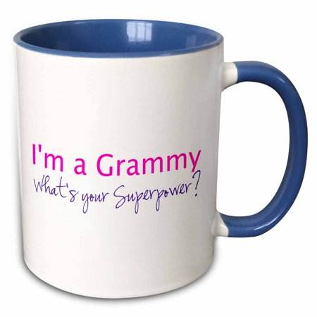 3dRose Im a Grammy - Whats your Superpower - pink - funny gift for grandma - Two Tone Blue Mug, 11-ounce ()