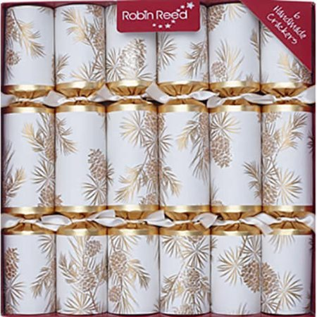 Robin Reed English Holiday Christmas Crackers, Pack of 10 - Gold Glitter Pine Cone ()