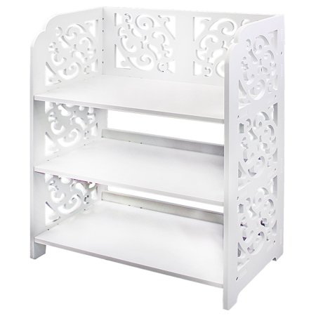 3 Tier Wood Shoe Rack, White Chic Hollow Out Shoe Closet Baroque Storage Organizer Stand Shelf Holder Unit Shelves