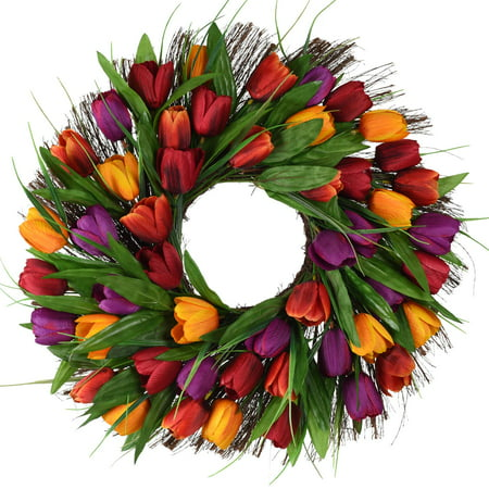 17inch Tulip Wreath Door Wreath,Artificial Flower Tulip Floral Twig Door Wreath Spring Wreath for Front Door Mother Day's Wreath