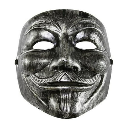 Silver V for Vendetta Guy Fawkes Plastic Costume Mask - One Size - V For Vendetta Cape