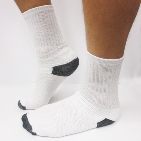 4 Pairs Mens Crew Sport Socks Cotton Calf Cushioned Old School Tube White 9-11 ()