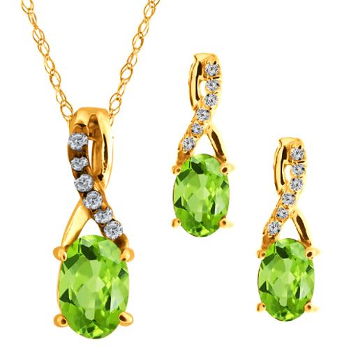 1.61 Ct Oval Green Peridot Gemstone 18k Yellow Gold Pendant Earrings Set