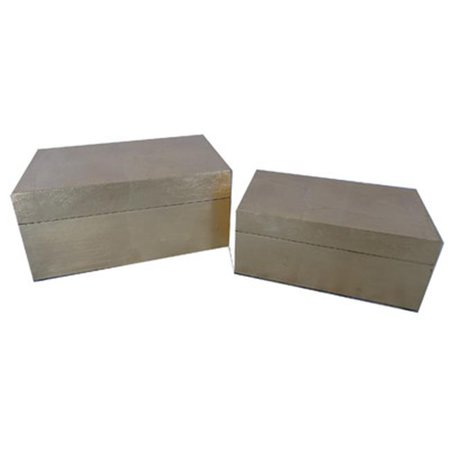 Cheungs FP-4451-2GD Set of 2 Gold Leaf Wood Box - 5 x 6.25 x 10.25 in.