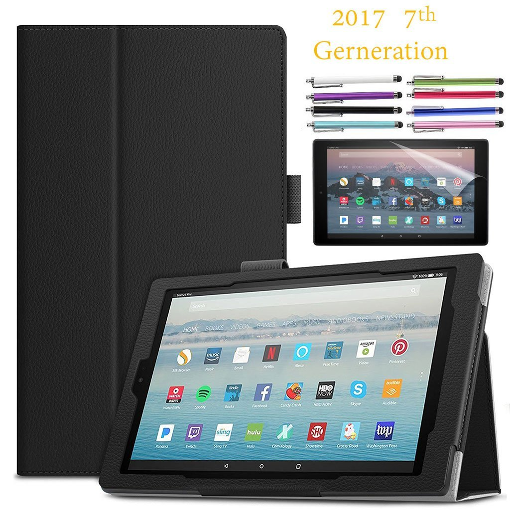 "EpicGadget Amazon Fire HD 10"" Case (2017) With Auto Sleep/Wake, Fire HD 10 7th Gen Stand Lightweight Cover PU Leather Case For 2017 Fire HD 10 + 1 Screen Protector and 1 Stylus (Black)"