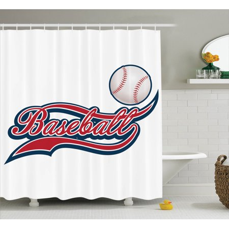 Sports Decor Shower Curtain Set Baseball Ball Sporting Pastime National Sport Athletic Entertainment Bathroom Accessories 69w X 70l Inches By