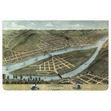 Vintage Map Of Wheeling West Virginia 1870 Cook County Canvas Art     36 X 54