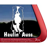 Haulin' Auss | Sitting Australian Shepherd Vinyl Adhesive Dog Window Decal