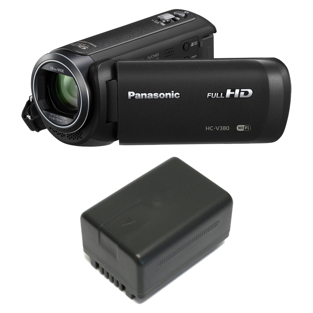Panasonic HC-V380K HD Camcorder 50x Optical Zoom w/ Wasabi VBT190 Spare Battery