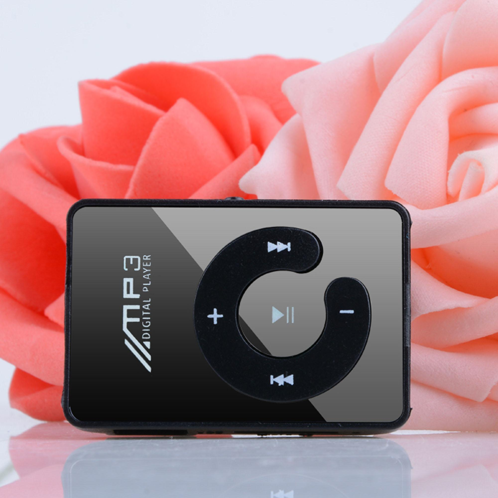 Mini Mp3 Player Mirror Clip USB Digital Mp3 Music Player Support SD TF Card Black ECLNK