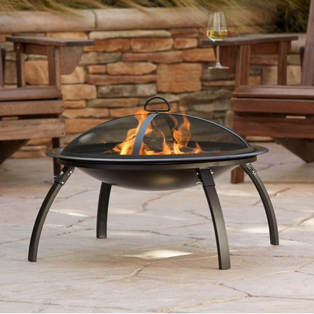 """John Timberland Black Outdoor Fire Pit Round 26"""" Steel Wood Burning Foldable Legs with Spark Screen and Fire Poker for Outside Backyard Patio Camping"""