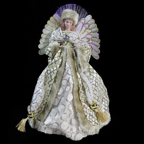 The Holiday Aisle Lighted B/O Fiber Optic Angel Hanging Figurine with Christmas Tree Topper